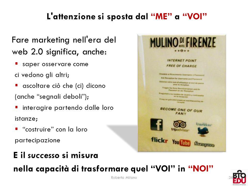 """Roberta Milano36 L'attenzione si sposta dal """"ME"""" a """"VOI"""" Fare marketing nell'era del web 2.0 significa, anche:  saper osservare come ci vedono gli al"""