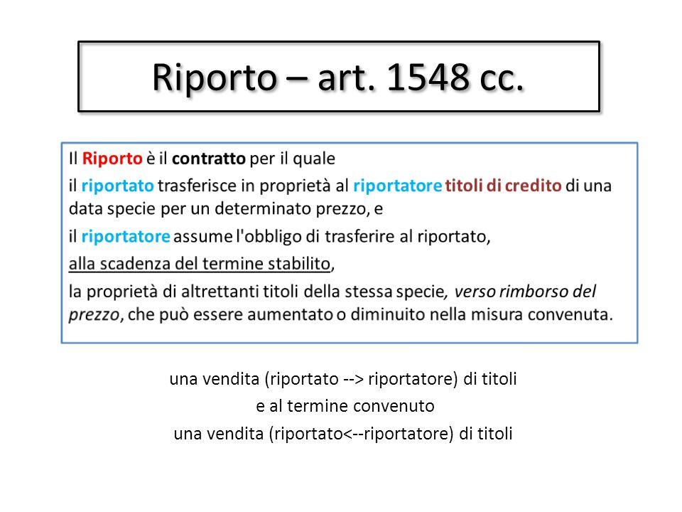 Riporto – art.1548 cc.