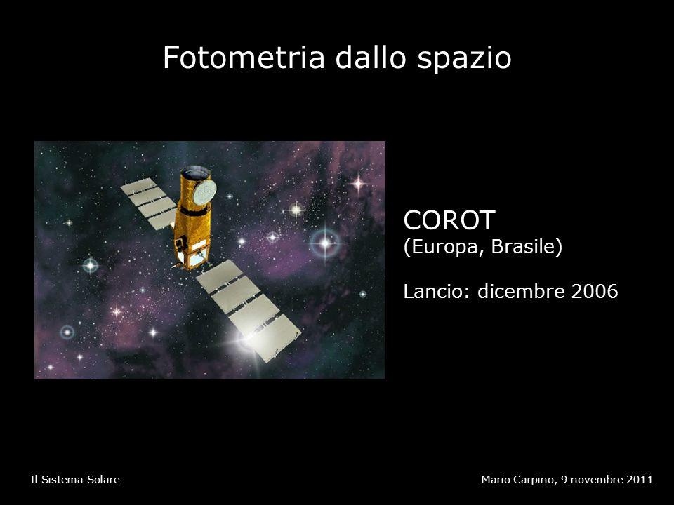 Fotometria dallo spazio Mario Carpino, 9 novembre 2011Il Sistema Solare COROT (Europa, Brasile) Lancio: dicembre 2006