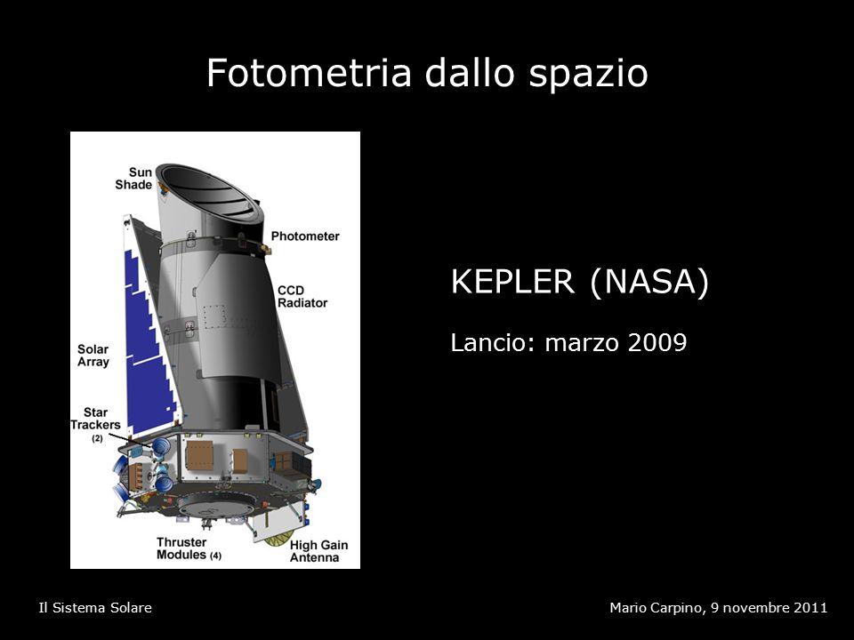 Fotometria dallo spazio Mario Carpino, 9 novembre 2011Il Sistema Solare KEPLER (NASA) Lancio: marzo 2009