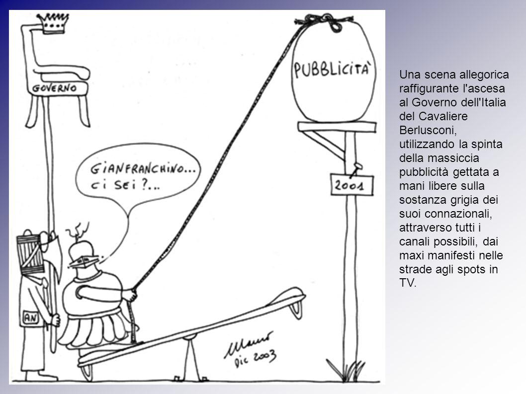 Una scena allegorica raffigurante l ascesa al Governo dell Italia del Cavaliere Berlusconi, utilizzando la spinta della massiccia pubblicità gettata a mani libere sulla sostanza grigia dei suoi connazionali, attraverso tutti i canali possibili, dai maxi manifesti nelle strade agli spots in TV.