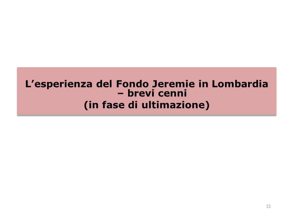 11 L'esperienza del Fondo Jeremie in Lombardia – brevi cenni (in fase di ultimazione) L'esperienza del Fondo Jeremie in Lombardia – brevi cenni (in fase di ultimazione)