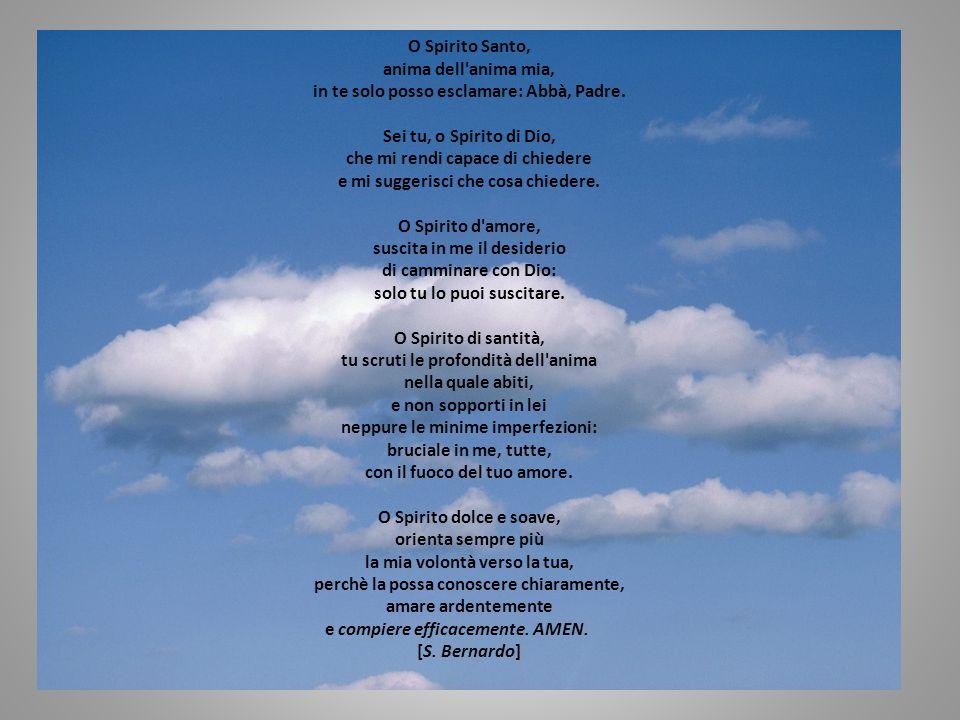 O Spirito Santo, anima dell'anima mia, in te solo posso esclamare: Abbà, Padre. Sei tu, o Spirito di Dio, che mi rendi capace di chiedere e mi suggeri