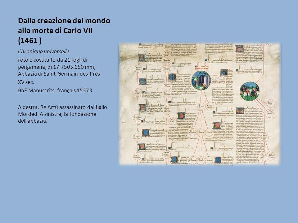 Dalla creazione del mondo alla morte di Carlo VII (1461 ) Chronique universelle rotolo costituito da 21 fogli di pergamena, di 17.750 x 650 mm, Abbazi