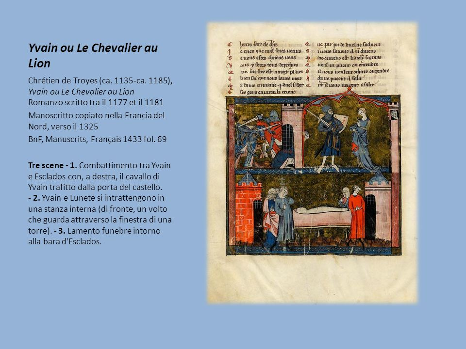 Yvain ou Le Chevalier au Lion Chrétien de Troyes (ca. 1135-ca. 1185), Yvain ou Le Chevalier au Lion Romanzo scritto tra il 1177 et il 1181 Manoscritto