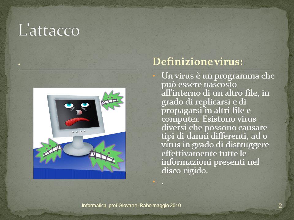 Il computer è sempre a rischio di un attacco virus I file condivisi, la rete - WEB i flash disk gli allegati di posta elettronica, la posta basata su Web, i download e i siti Web contraffatti.