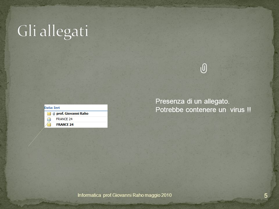 Il messaggio indicato non contiene l'oggetto.ATTENZIONE.