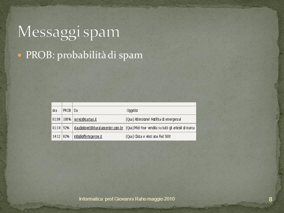 PROB: probabilità di spam 8 Informatica prof.Giovanni Raho maggio 2010