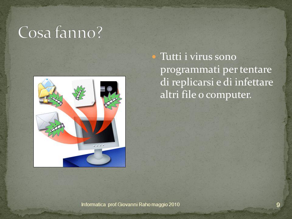 Tutti i virus sono programmati per tentare di replicarsi e di infettare altri file o computer.