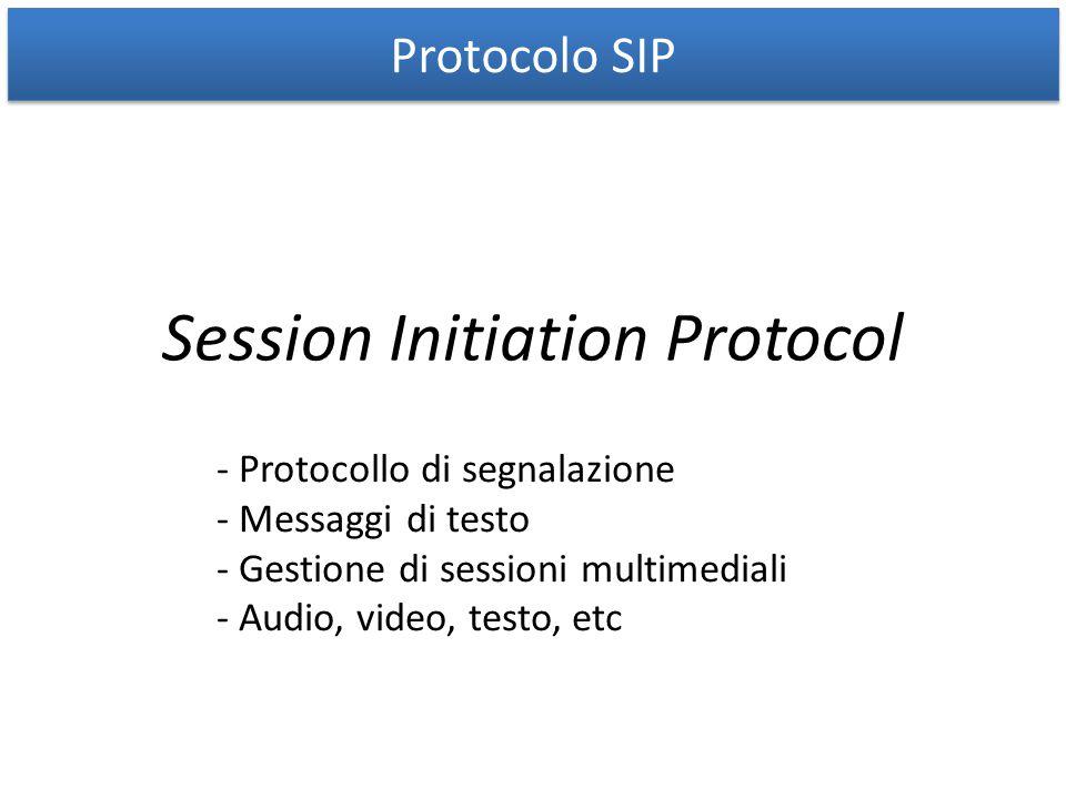 Protocolo SIP Session Initiation Protocol - Protocollo di segnalazione - Messaggi di testo - Gestione di sessioni multimediali - Audio, video, testo,