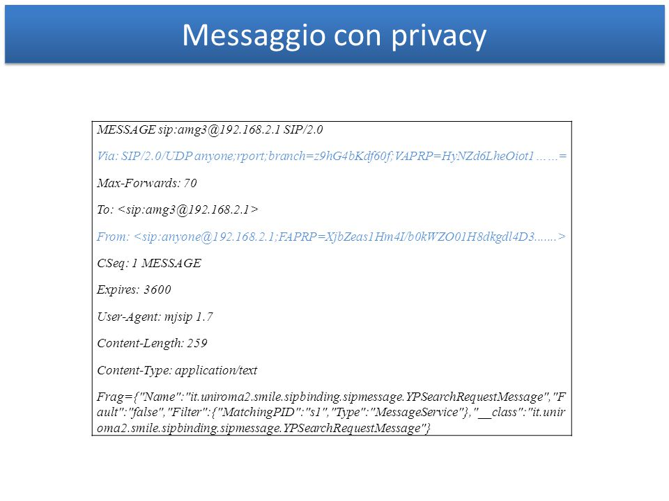 Messaggio con privacy MESSAGE sip:amg3@192.168.2.1 SIP/2.0 Via: SIP/2.0/UDP anyone;rport;branch=z9hG4bKdf60f;VAPRP=HyNZd6LheOiot1……= Max-Forwards: 70 To: From: CSeq: 1 MESSAGE Expires: 3600 User-Agent: mjsip 1.7 Content-Length: 259 Content-Type: application/text Frag={ Name : it.uniroma2.smile.sipbinding.sipmessage.YPSearchRequestMessage , F ault : false , Filter :{ MatchingPID : s1 , Type : MessageService }, __class : it.unir oma2.smile.sipbinding.sipmessage.YPSearchRequestMessage }