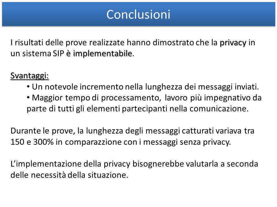 Conclusioni privacy è implementabile I risultati delle prove realizzate hanno dimostrato che la privacy in un sistema SIP è implementabile.Svantaggi: