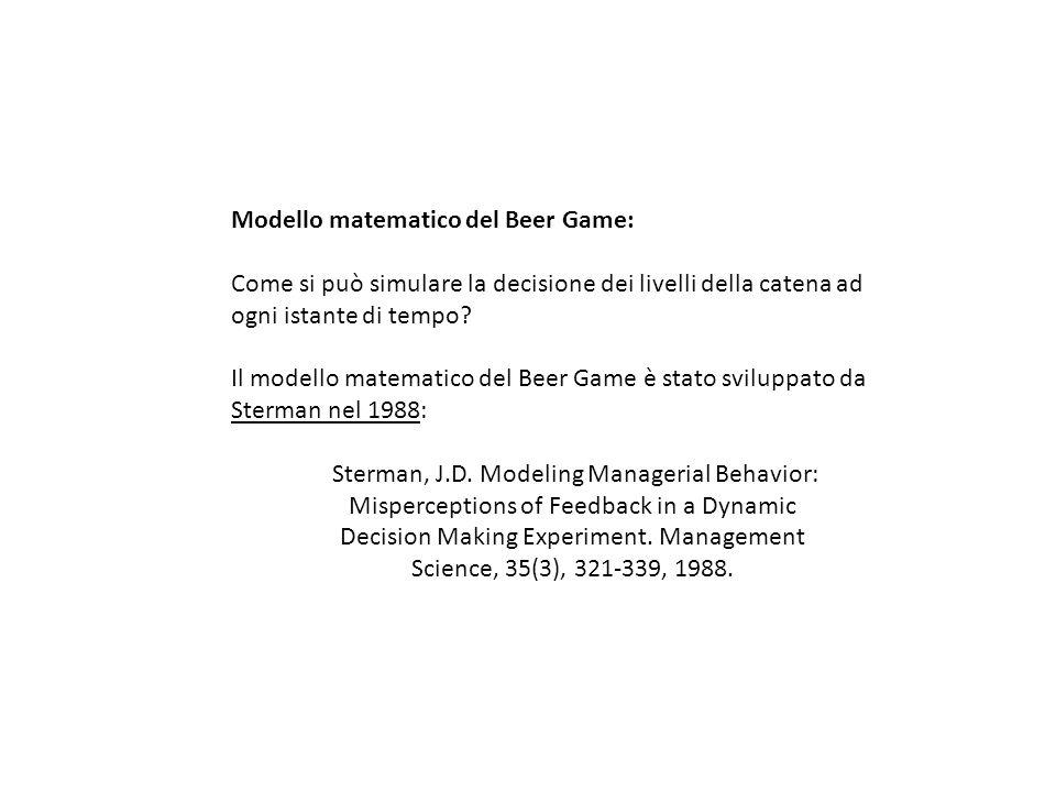 Modello matematico del Beer Game: Come si può simulare la decisione dei livelli della catena ad ogni istante di tempo? Il modello matematico del Beer