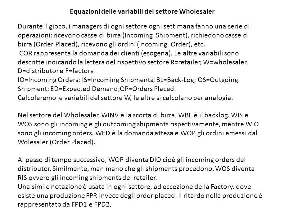 Equazioni delle variabili del settore Wholesaler Durante il gioco, i managers di ogni settore ogni settimana fanno una serie di operazioni: ricevono c