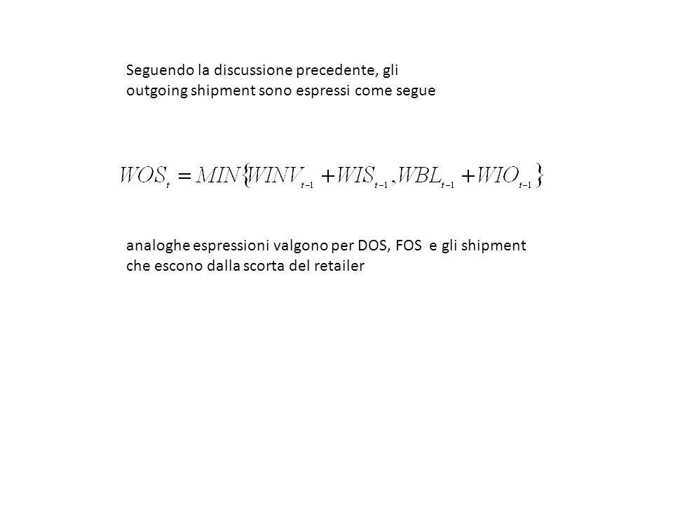 Seguendo la discussione precedente, gli outgoing shipment sono espressi come segue analoghe espressioni valgono per DOS, FOS e gli shipment che escono