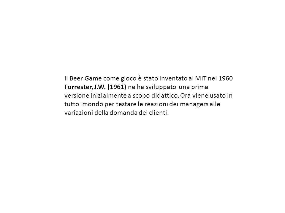 Il Beer Game come gioco è stato inventato al MIT nel 1960 Forrester, J.W. (1961) ne ha sviluppato una prima versione inizialmente a scopo didattico. O