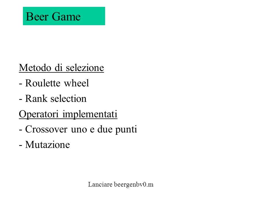 Beer Game Metodo di selezione - Roulette wheel - Rank selection Operatori implementati - Crossover uno e due punti - Mutazione Lanciare beergenbv0.m