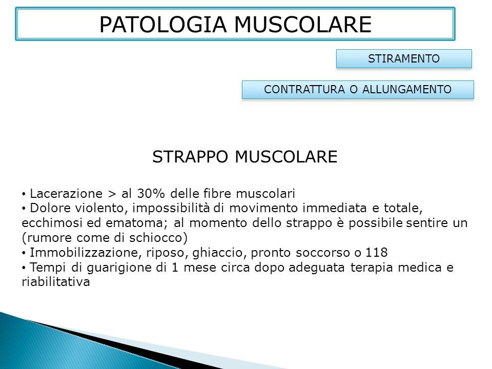 STRAPPO MUSCOLARE Lacerazione > al 30% delle fibre muscolari Dolore violento, impossibilità di movimento immediata e totale, ecchimosi ed ematoma; al