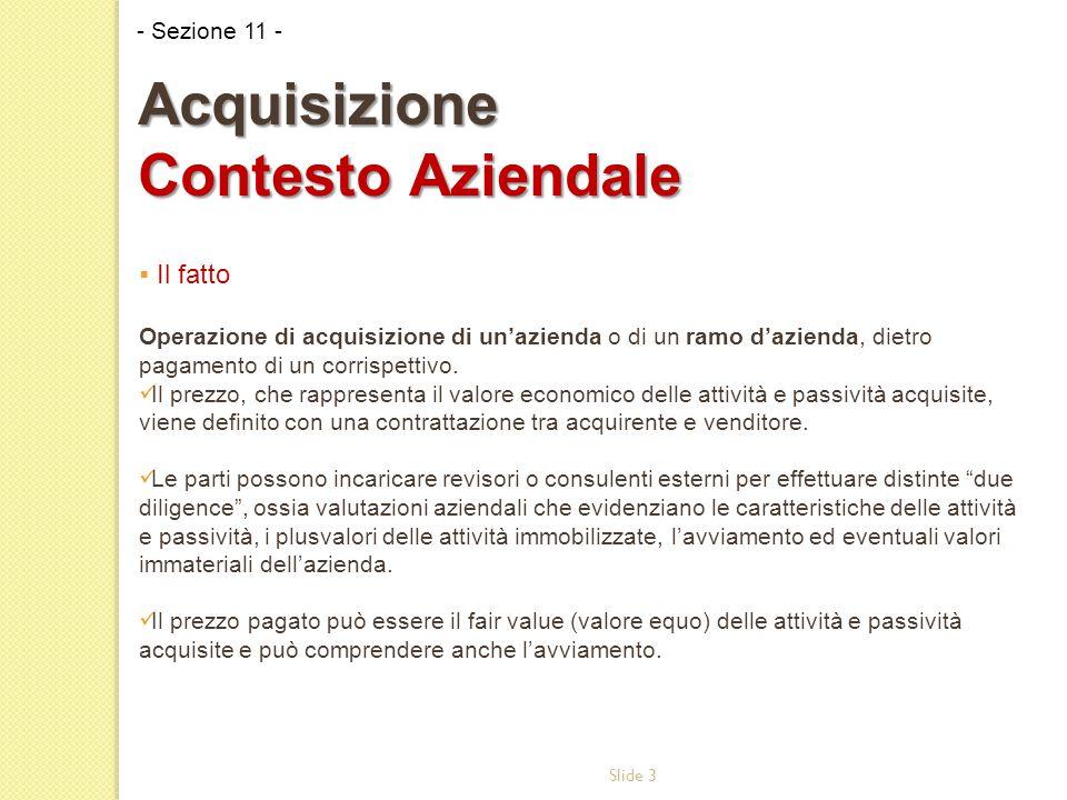 Slide 3  Il fatto Operazione di acquisizione di un'azienda o di un ramo d'azienda, dietro pagamento di un corrispettivo.