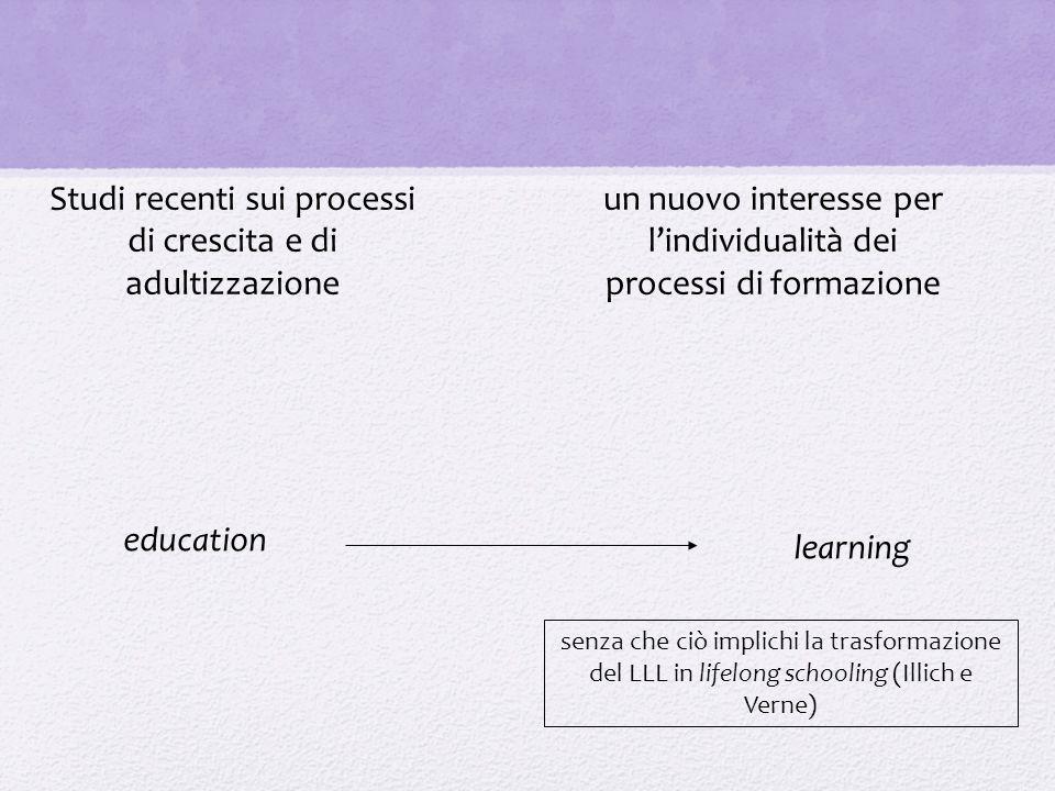 education learning Studi recenti sui processi di crescita e di adultizzazione un nuovo interesse per l'individualità dei processi di formazione senza