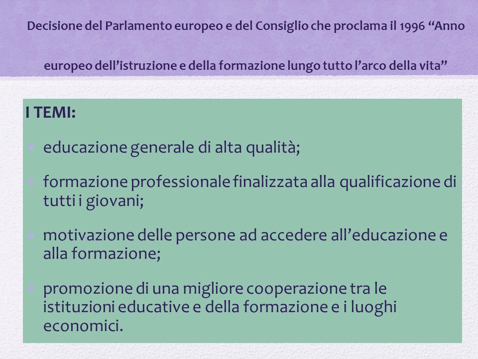 """Decisione del Parlamento europeo e del Consiglio che proclama il 1996 """"Anno europeo dell'istruzione e della formazione lungo tutto l'arco della vita"""""""