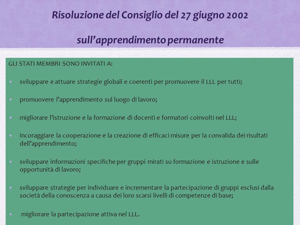 Risoluzione del Consiglio del 27 giugno 2002 sull'apprendimento permanente GLI STATI MEMBRI SONO INVITATI A: sviluppare e attuare strategie globali e