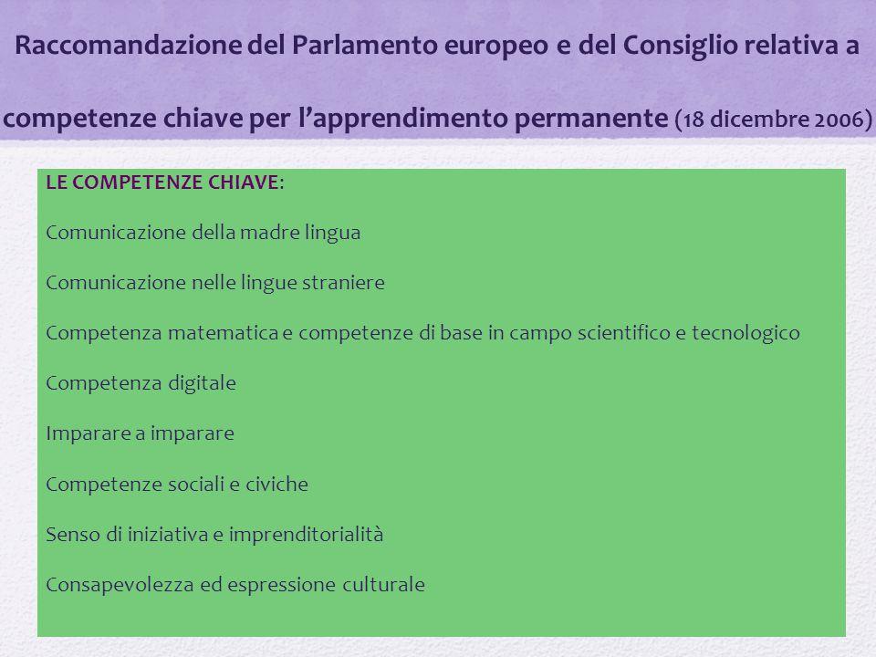 Raccomandazione del Parlamento europeo e del Consiglio relativa a competenze chiave per l'apprendimento permanente (18 dicembre 2006) LE COMPETENZE CH