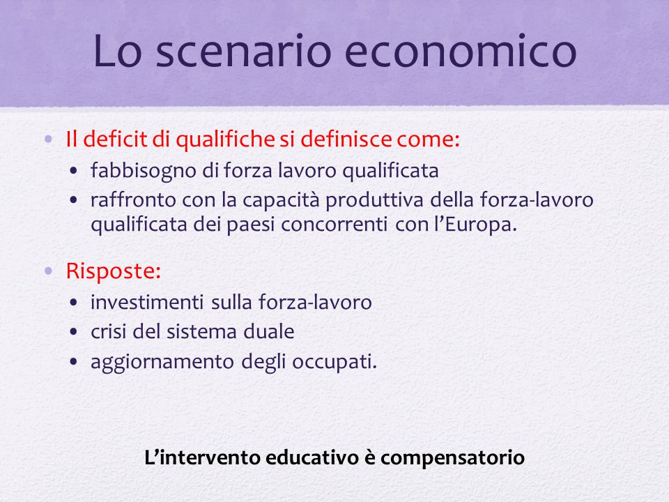 Lo scenario economico Il deficit di qualifiche si definisce come: fabbisogno di forza lavoro qualificata raffronto con la capacità produttiva della fo