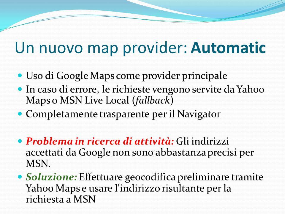 Un nuovo map provider: Automatic Uso di Google Maps come provider principale In caso di errore, le richieste vengono servite da Yahoo Maps o MSN Live Local (fallback) Completamente trasparente per il Navigator Problema in ricerca di attività: Gli indirizzi accettati da Google non sono abbastanza precisi per MSN.