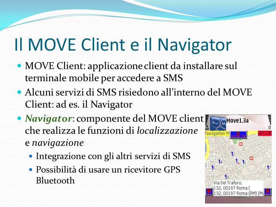 Il MOVE Client e il Navigator MOVE Client: applicazione client da installare sul terminale mobile per accedere a SMS Alcuni servizi di SMS risiedono all'interno del MOVE Client: ad es.