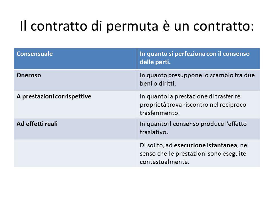 Il contratto di permuta è un contratto: ConsensualeIn quanto si perfeziona con il consenso delle parti. OnerosoIn quanto presuppone lo scambio tra due