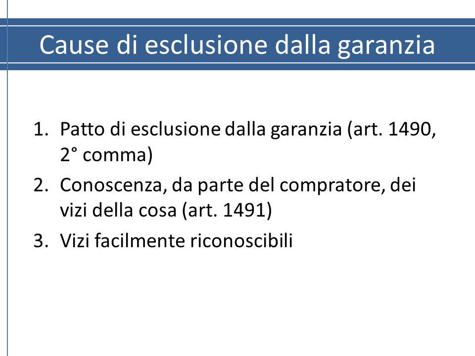 Cause di esclusione dalla garanzia 1.Patto di esclusione dalla garanzia (art. 1490, 2° comma) 2.Conoscenza, da parte del compratore, dei vizi della co