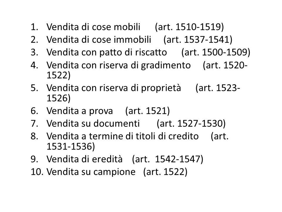1.Vendita di cose mobili (art. 1510-1519) 2.Vendita di cose immobili (art. 1537-1541) 3.Vendita con patto di riscatto (art. 1500-1509) 4.Vendita con r
