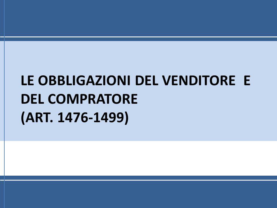 Obbligazioni del compratore Pagare il prezzo nel termine e nel luogo fissato dal contratto (art.