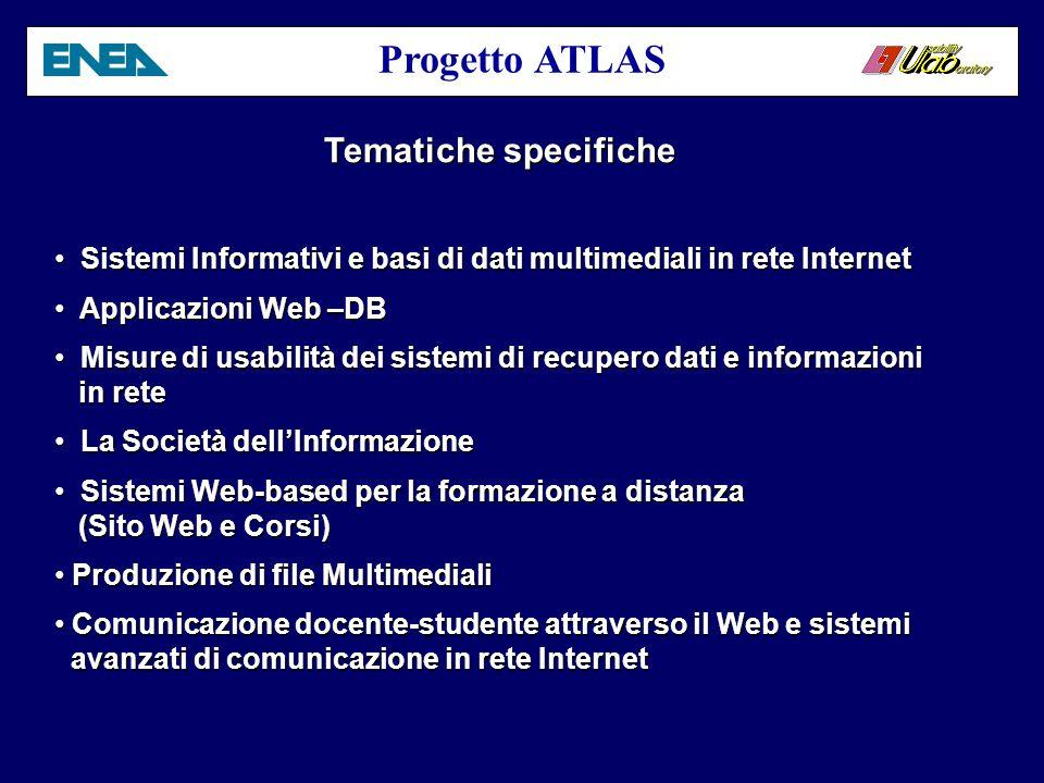 Progetto ATLAS Settore di intervento Sistemi Multimediali e Usabilità nei sistemi di Comunicazione per la formazione a distanza