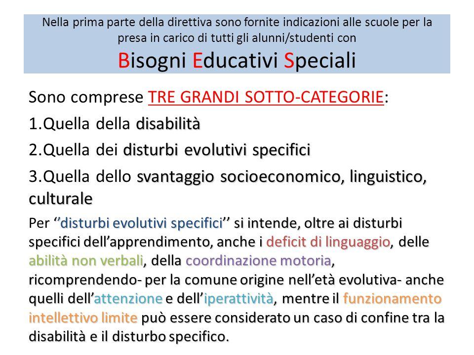 Nella prima parte della direttiva sono fornite indicazioni alle scuole per la presa in carico di tutti gli alunni/studenti con Bisogni Educativi Speciali Sono comprese TRE GRANDI SOTTO-CATEGORIE: disabilità 1.Quella della disabilità disturbi evolutivi specifici 2.Quella dei disturbi evolutivi specifici svantaggio socioeconomico, linguistico, culturale 3.Quella dello svantaggio socioeconomico, linguistico, culturale ''disturbi evolutivi specifici'' si intende, oltre ai disturbi specifici dell'apprendimento, anche i deficit di linguaggio, delle abilità non verbali, della coordinazione motoria, ricomprendendo- per la comune origine nell'età evolutiva- anche quelli dell'attenzione e dell'iperattività, mentre il funzionamento intellettivo limite può essere considerato un caso di confine tra la disabilità e il disturbo specifico.