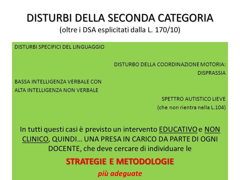 DISTURBI DELLA SECONDA CATEGORIA DISTURBI DELLA SECONDA CATEGORIA (oltre i DSA esplicitati dalla L.