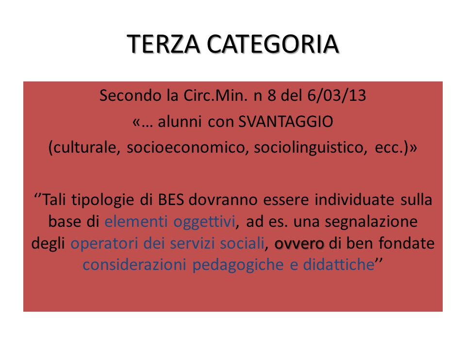 TERZA CATEGORIA Secondo la Circ.Min.