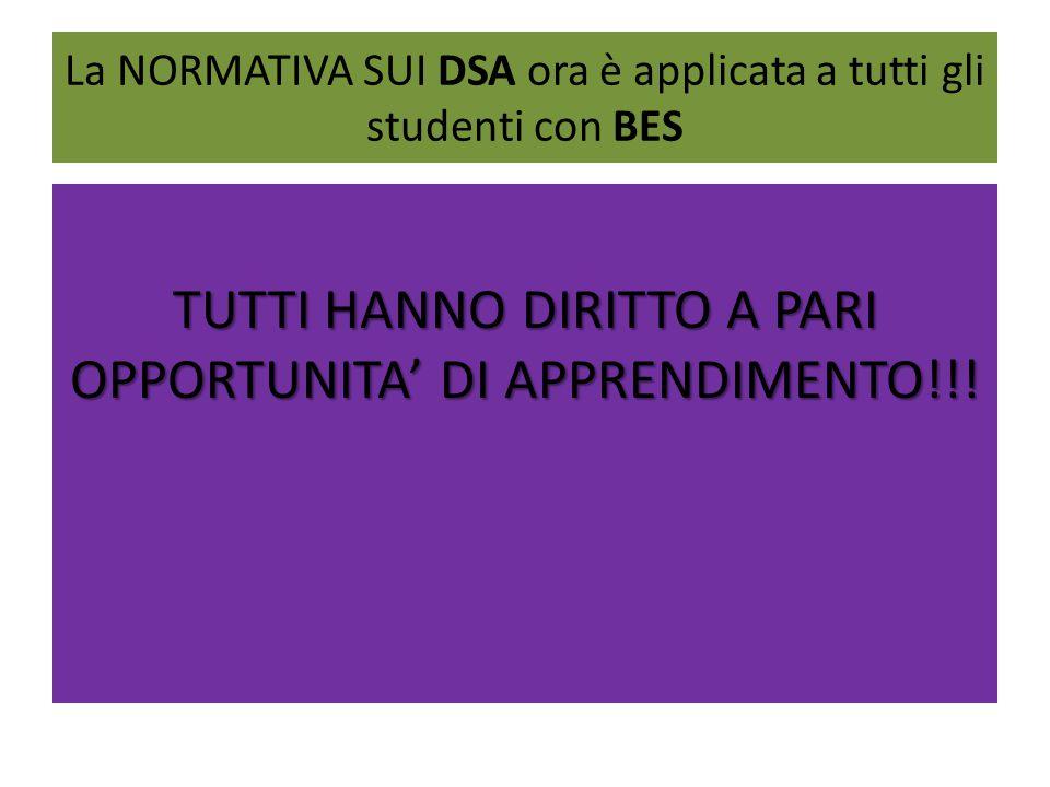 La NORMATIVA SUI DSA ora è applicata a tutti gli studenti con BES TUTTI HANNO DIRITTO A PARI OPPORTUNITA' DI APPRENDIMENTO!!!