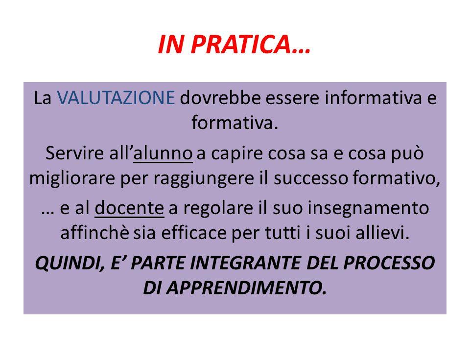 IN PRATICA… La VALUTAZIONE dovrebbe essere informativa e formativa.