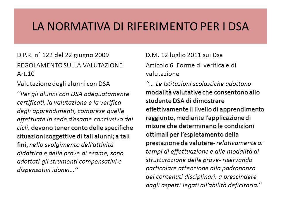 LA NORMATIVA DI RIFERIMENTO PER I DSA D.P.R.