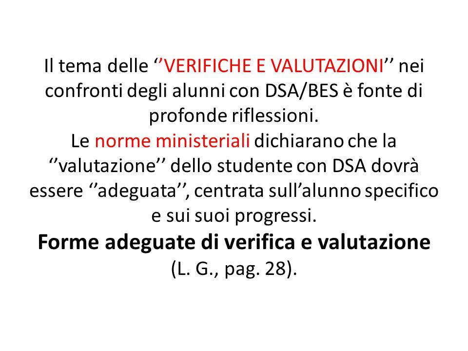 Il tema delle ''VERIFICHE E VALUTAZIONI'' nei confronti degli alunni con DSA/BES è fonte di profonde riflessioni.
