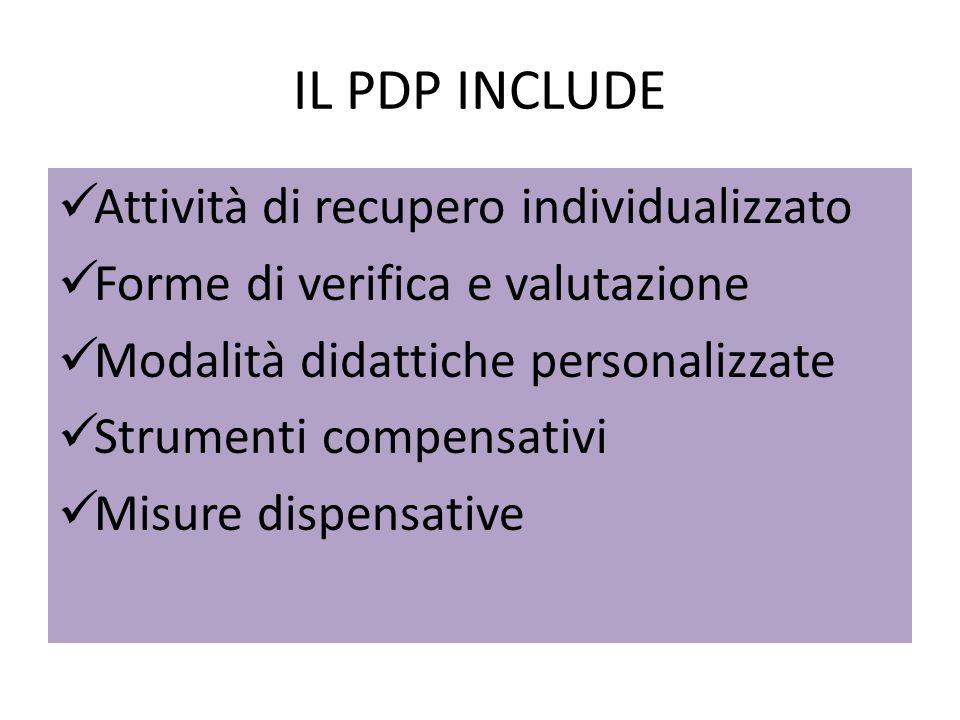 IL PDP INCLUDE Attività di recupero individualizzato Forme di verifica e valutazione Modalità didattiche personalizzate Strumenti compensativi Misure dispensative