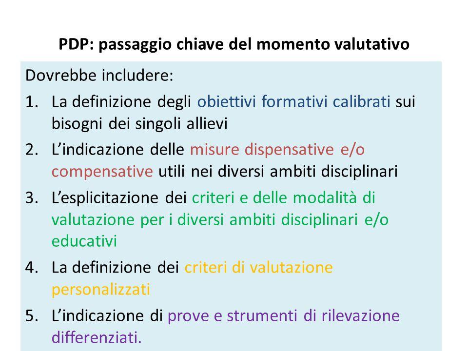 PDP: passaggio chiave del momento valutativo Dovrebbe includere: 1.La definizione degli obiettivi formativi calibrati sui bisogni dei singoli allievi 2.L'indicazione delle misure dispensative e/o compensative utili nei diversi ambiti disciplinari 3.L'esplicitazione dei criteri e delle modalità di valutazione per i diversi ambiti disciplinari e/o educativi 4.La definizione dei criteri di valutazione personalizzati 5.L'indicazione di prove e strumenti di rilevazione differenziati.