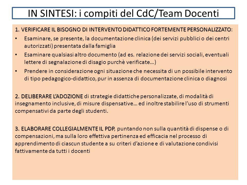 IN SINTESI: i compiti del CdC/Team Docenti 1.