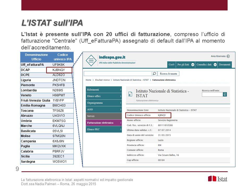 9 L'ISTAT sull'IPA L'Istat è presente sull'IPA con 20 uffici di fatturazione, compreso l'ufficio di fatturazione Centrale (Uff_eFatturaPA) assegnato di default dall'IPA al momento dell'accreditamento.