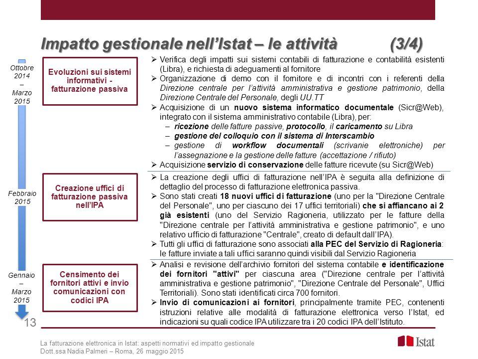 Impatto gestionale nell'Istat – le attività (3/4) 13 Creazione uffici di fatturazione passiva nell'IPA  La creazione degli uffici di fatturazione nell'IPA è seguita alla definizione di dettaglio del processo di fatturazione elettronica passiva.