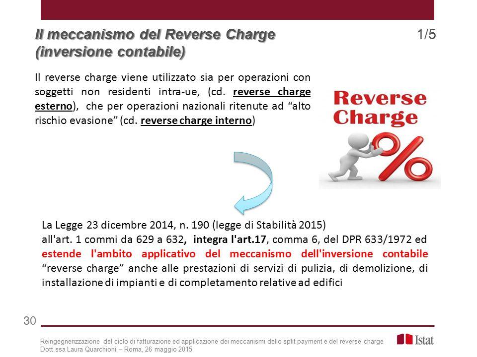 Il meccanismo del Reverse Charge Il meccanismo del Reverse Charge 1/5 (inversione contabile) La Legge 23 dicembre 2014, n.