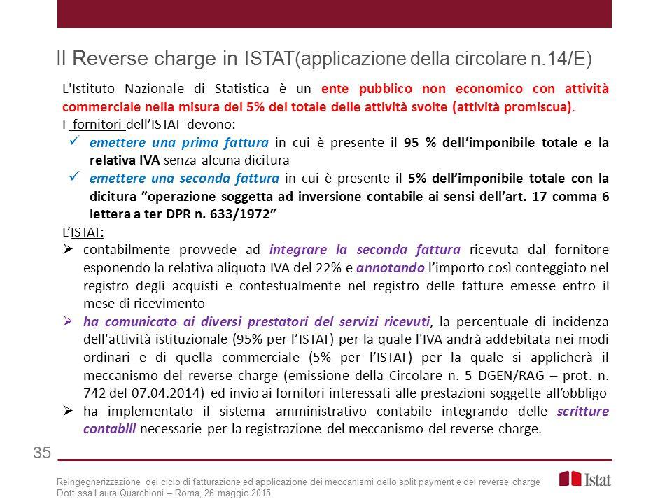 Il Reverse charge in ISTAT(applicazione della circolare n.14/E) L Istituto Nazionale di Statistica è un ente pubblico non economico con attività commerciale nella misura del 5% del totale delle attività svolte (attività promiscua).