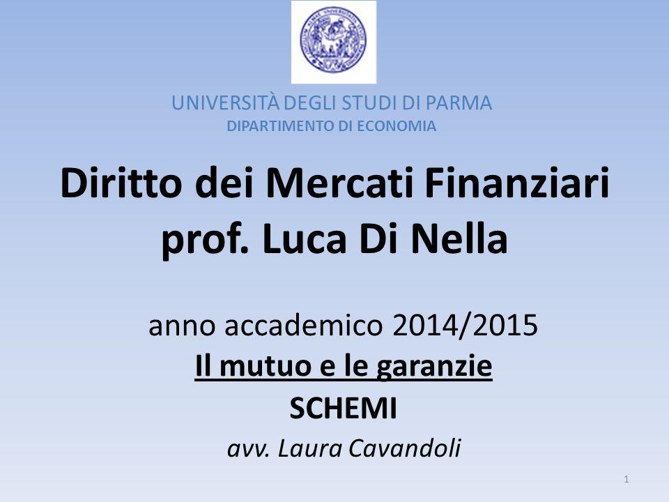 Diritto dei Mercati Finanziari prof. Luca Di Nella anno accademico 2014/2015 Il mutuo e le garanzie SCHEMI avv. Laura Cavandoli UNIVERSITÀ DEGLI STUDI